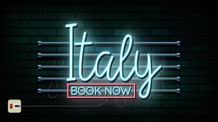 Italy and Rome Travel And Journey neon light background. Vector Design Template.used for your advertisement, book, banner, template, travel business or presentation.