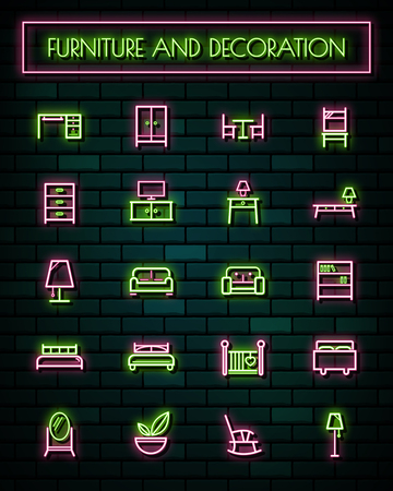 Furniture and decoration thin neon glowing line icons set.vector illustration.