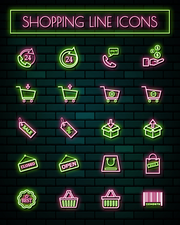 Shopping sign thin neon glowing line icons set.vector illustration.