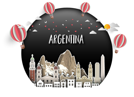 Argentina Landmark Global Travel And Journey paper background. Vector Design Template.used for your advertisement, book, banner, template, travel business or presentation. 일러스트