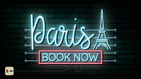 France and Paris Travel And Journey neon light background. Vector Design Template.used for your advertisement, book, banner, template, travel business or presentation. Ilustracja