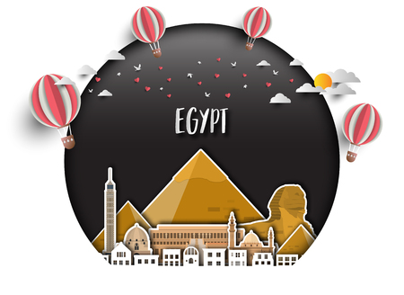 Egypt Landmark Global Travel And Journey paper background. Vector Design Template.used for your advertisement, book, banner, template, travel business or presentation 일러스트