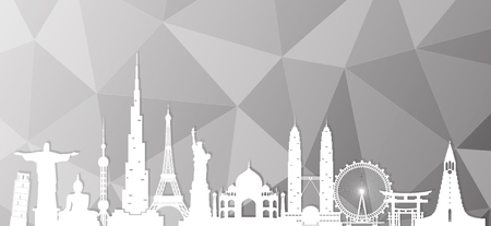 World famous Landmark paper art. Global Travel And Journey Infographic . Vector Flat Design Template.vectorillustration.Can be used for your banner, business, education, website or any artwork. 일러스트