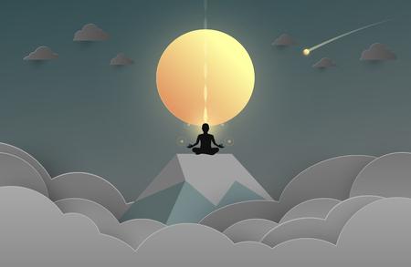 Man body silhouette in yoga lotus asana in the sphere glass background. Vector illustration Illustration