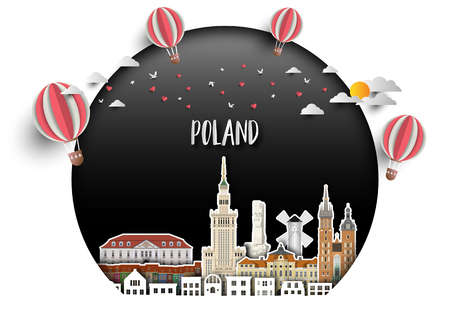 Poland Landmark Global Travel And Journey paper background. Vector Design Template.used for your advertisement, book, banner, template, travel business or presentation. Çizim