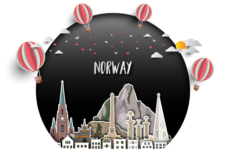 norway Landmark Global Travel And Journey paper background. Vector Design Template.used for your advertisement, book, banner, template, travel business or presentation. Imagens - 118982480