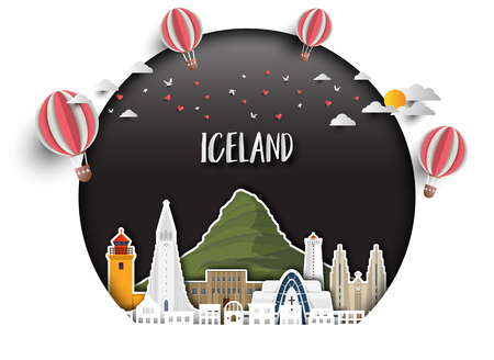 Iceland Landmark Global Travel And Journey paper background. Vector Design Template.used for your advertisement, book, banner, template, travel business or presentation.