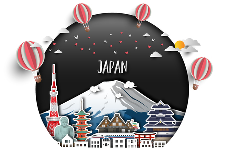 Japan Landmark Global Travel And Journey paper background. Vector Design Template.used for your advertisement, book, banner, template, travel business or presentation.