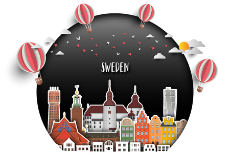 Sweden Landmark Global Travel And Journey paper background. Vector Design Template.used for your advertisement, book, banner, template, travel business or presentation