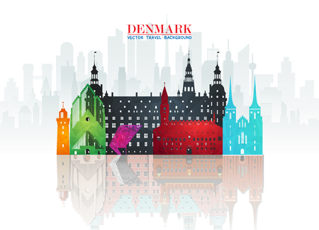 Denmark Landmark Global Travel And Journey paper background. Vector Design Template.used for your advertisement, book, banner, template, travel business or presentation. 일러스트