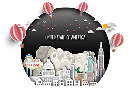 United state of america Landmark Global Travel And Journey paper background. Vector Design Template.used for your advertisement, book, banner, template, travel business or presentation. 일러스트
