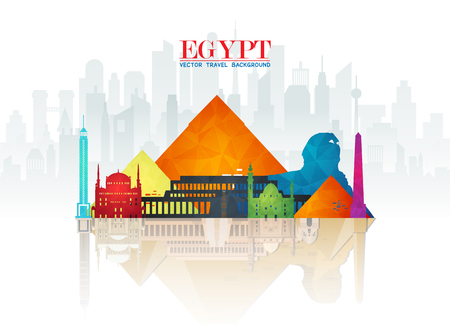 Egypt Landmark Global Travel And Journey paper background. Vector Design Template.used for your advertisement, book, banner, template, travel business or presentation. 일러스트