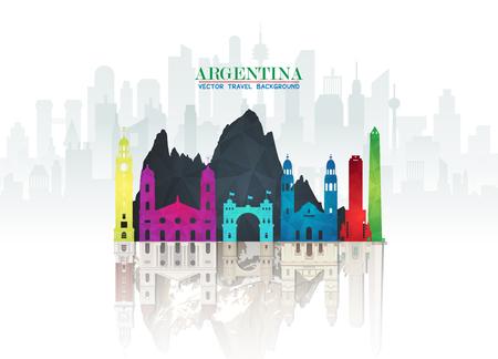 Fond de papier Argentine Landmark Global Travel and Journey. Modèle de conception de vecteur utilisé pour votre publicité, livre, bannière, modèle, entreprise de voyage ou présentation Vecteurs