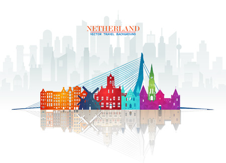 Netherland Landmark Global Travel And Journey paper background. Vector Design Template.used for your advertisement, book, banner, template, travel business or presentation.