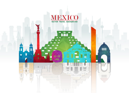 Mexico Landmark Global Travel And Journey paper background. Vector Design Template.used for your advertisement, book, banner, template, travel business or presentation. 일러스트