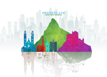 Switzerland Landmark Global Travel And Journey paper background. Vector Design Template.used for your advertisement, book, banner, template, travel business or presentation. 일러스트