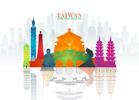 Taiwan Landmark Global Travel And Journey paper background. Vector Design Template.used for your advertisement, book, banner, template, travel business or presentation. Çizim