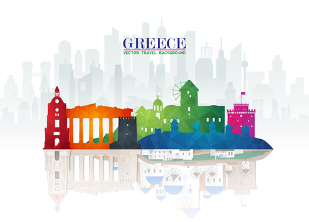 Greece Landmark Global Travel And Journey paper background. Vector Design Template.used for your advertisement, book, banner, template, travel business or presentation.