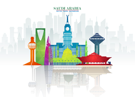 Saudi Arabia Landmark Global Travel And Journey paper background. Vector Design Template.used for your advertisement, book, banner, template, travel business or presentation. Vettoriali