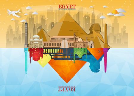Fond de papier Egypte Landmark Global Travel and Journey Modèle de conception de vecteur utilisé pour votre publicité, livre, bannière, modèle, entreprise de voyage ou présentation.