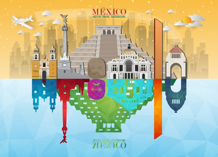 Mexico Landmark Global Travel And Journey paper background. Vector Design Template.used for your advertisement, book, banner, template, travel business or presentation. Stock Illustratie