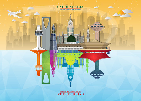 Saudi Arabia Landmark Global Travel And Journey paper background. Vector Design Template.used for your advertisement, book, banner, template, travel business or presentation. 矢量图像
