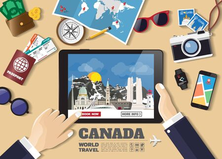 Hand holding smart tablet booking travel destination.Canada famous places.Vector concept banners in flat style with the set of traveling objects, accessories and tourism icons. world landmarks set.