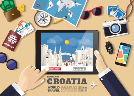 Hand holding smart tablet booking travel destination.Croatia famous places.Vector concept banners in flat style with the set of traveling objects, accessories and tourism icons. world landmarks set.