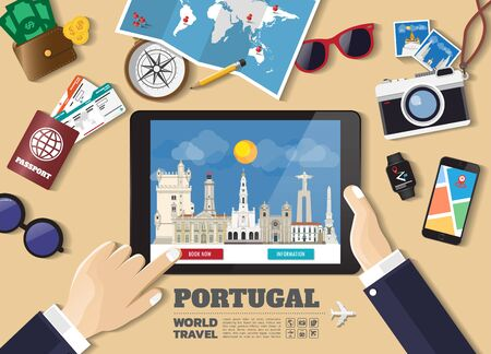 Hand holding smart tablet booking travel destination.Portugal famous places.Vector concept banners in flat style with the set of traveling objects, accessories and tourism icon.