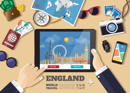Hand holding smart tablet booking travel destination.England famous places.Vector concept banners in flat style with the set of traveling objects, accessories and tourism icon.