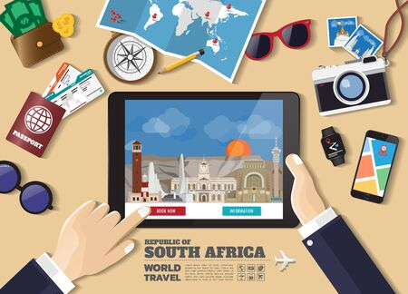 Hand holding smart tablet booking travel destination.South africa famous places.Vector concept banners in flat style with the set of traveling objects, accessories and tourism icon. Illusztráció