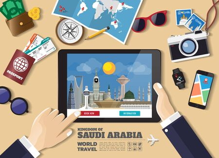 Hand holding smart tablet booking travel destination.Saudi Arabia famous places.Vector concept banners in flat style with the set of traveling objects, accessories and tourism icon.