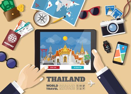 Hand holding smart tablet booking travel destination.Thailand famous places.Vector concept banners in flat style with the set of traveling objects, accessories and tourism icon.
