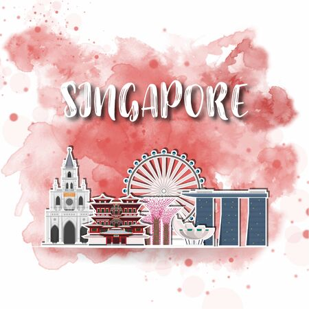 Singapore Landmark Global Travel And Journey watercolor background. Vector Design Template.used for your advertisement, book, banner, template, travel business or presentation. Иллюстрация
