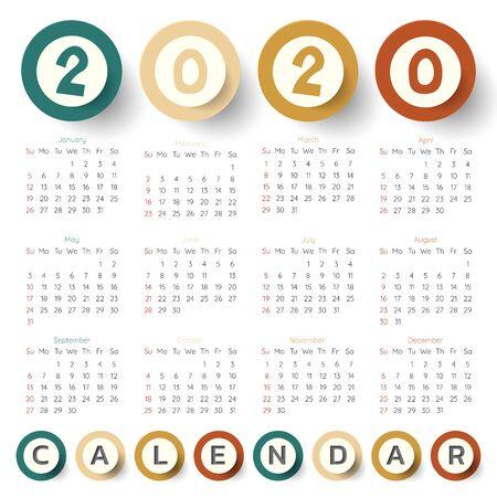 2020 Modern calendar template .Vectorillustration. Иллюстрация