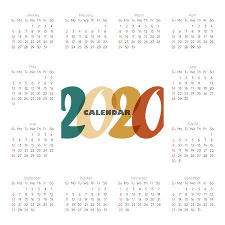 2020 Modern calendar template . Ilustração