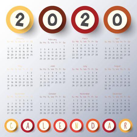 2020 Modern calendar template .Vectorillustration. Ilustracja