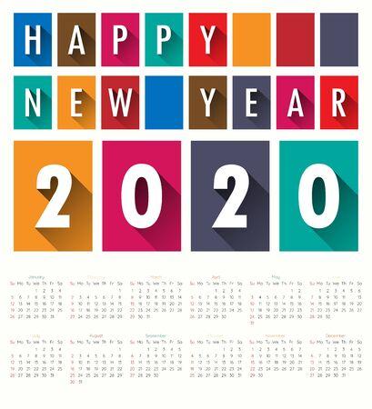 2020 Modern calendar template .Vectorillustration. Ilustração