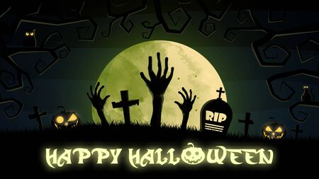 flat design Halloween background with graveyard and house. Vector, illustration.