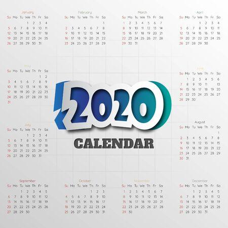 Happy New Year 2020 Modern calendar template .Vectorillustration.