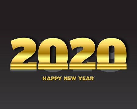 Happy New Year 2020 text design. Cover of business Planner for 2020 with wishes. Brochure design template, card, banner. Vector illustration. Isolated on white background.