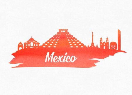 Mexico  Landmark Global Travel And Journey watercolor background. Vector Design Template.used for your advertisement, book, banner, template, travel business or presentation.