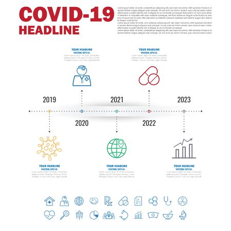 Covid-19 Coronavirus vector icon sign banner.infographic for presentation.Coronavirus outbreak in the world.