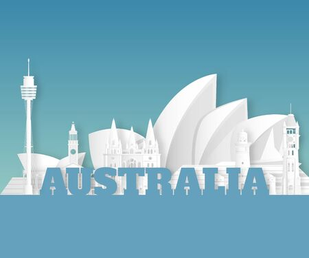 Australia Landmark Global Travel And Journey paper background. Vector Design Template.used for your advertisement, book, banner, template, travel business or presentation.