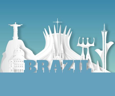 Brazil Landmark Global Travel And Journey paper background. Vector Design Template.used for your advertisement, book, banner, template, travel business or presentation. Ilustracja