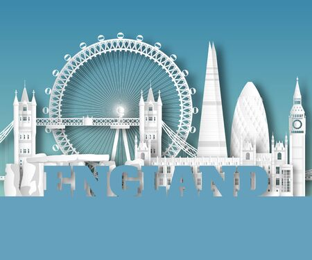 England Landmark Global Travel And Journey paper background. Vector Design Template.used for your advertisement, book, banner, template, travel business or presentation. Ilustracja