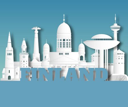 Finland Landmark Global Travel And Journey paper background. Vector Design Template.used for your advertisement, book, banner, template, travel business or presentation. Ilustracja
