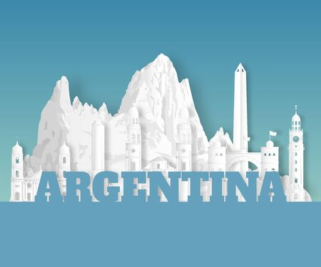 Argentina Landmark Global Travel And Journey paper background. Vector Design Template.used for your advertisement, book, banner, template, travel business or presentation. Ilustracja