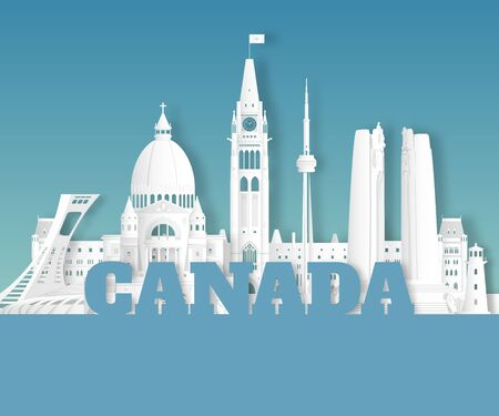 Canada Landmark Global Travel And Journey paper background. Vector Design Template.used for your advertisement, book, banner, template, travel business or presentation. Ilustracja