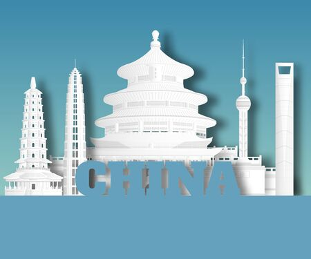 China Landmark Global Travel And Journey paper background. Vector Design Template.used for your advertisement, book, banner, template, travel business or presentation. Ilustracja